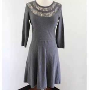 Vince Camuto grey lace neck dress